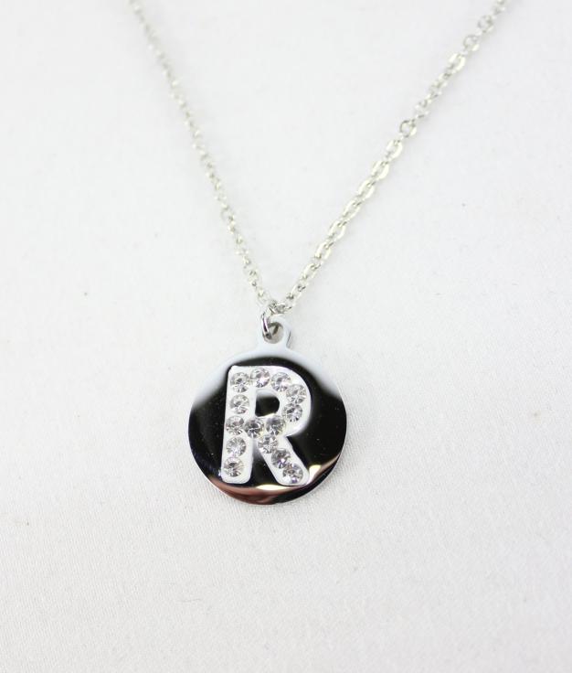 "COLLAR LETRA ""R"" - PLATEADO"