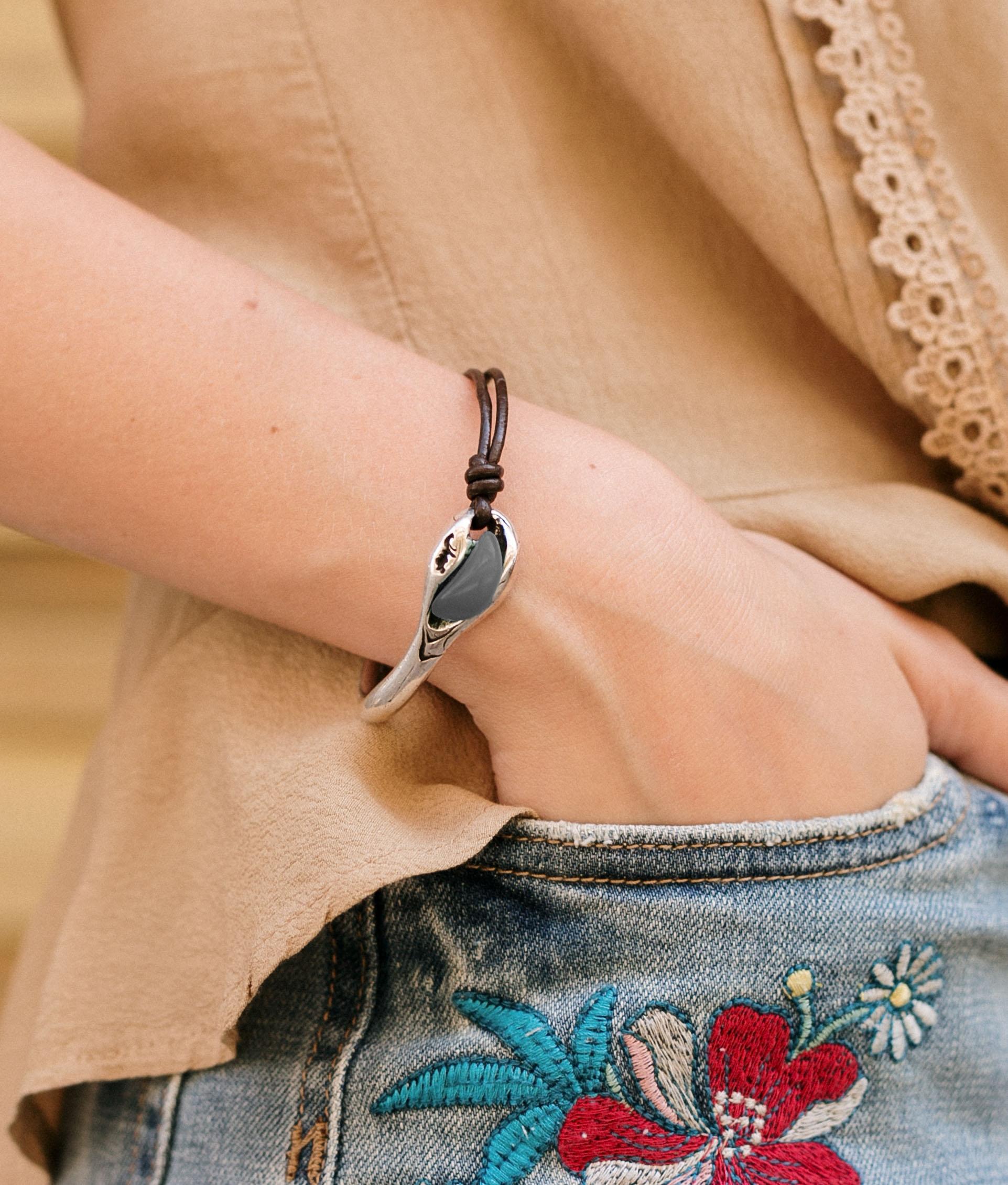 Bracelet Baobab Cuero - Aquamarine