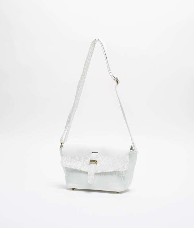 BRIGITTA LEATHER SHOULDER BAG - WHITE