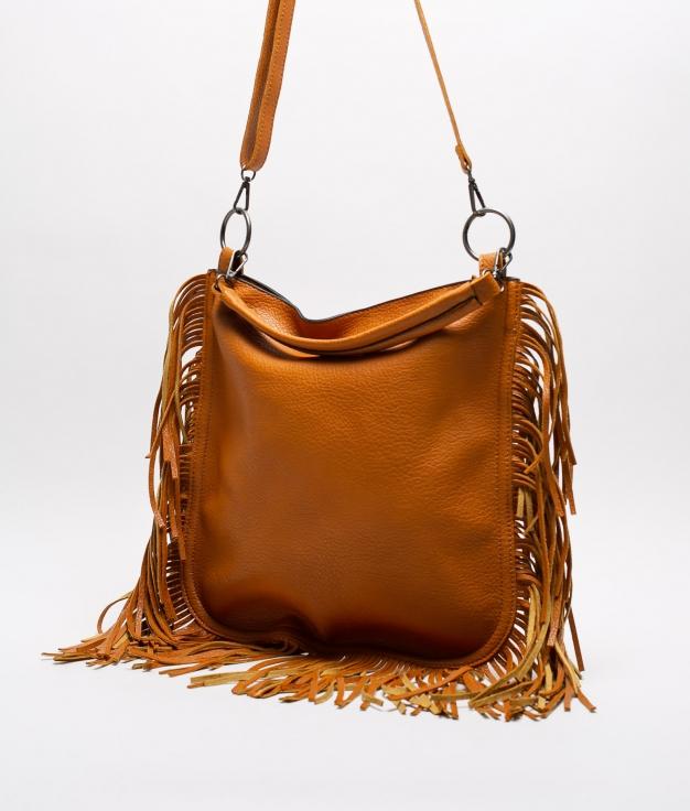 FRINGE SHOULDER BAG - BROWN
