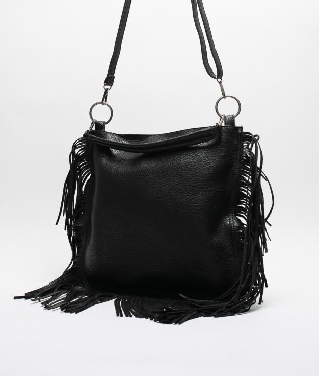 FRINGE SHOULDER BAG - BLACK