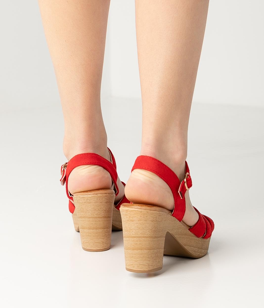 Sandália de Salto Polka - Vermelho