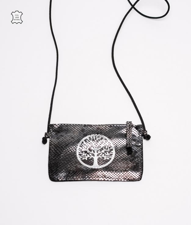 Mobile Holder Leather Caryn - Black