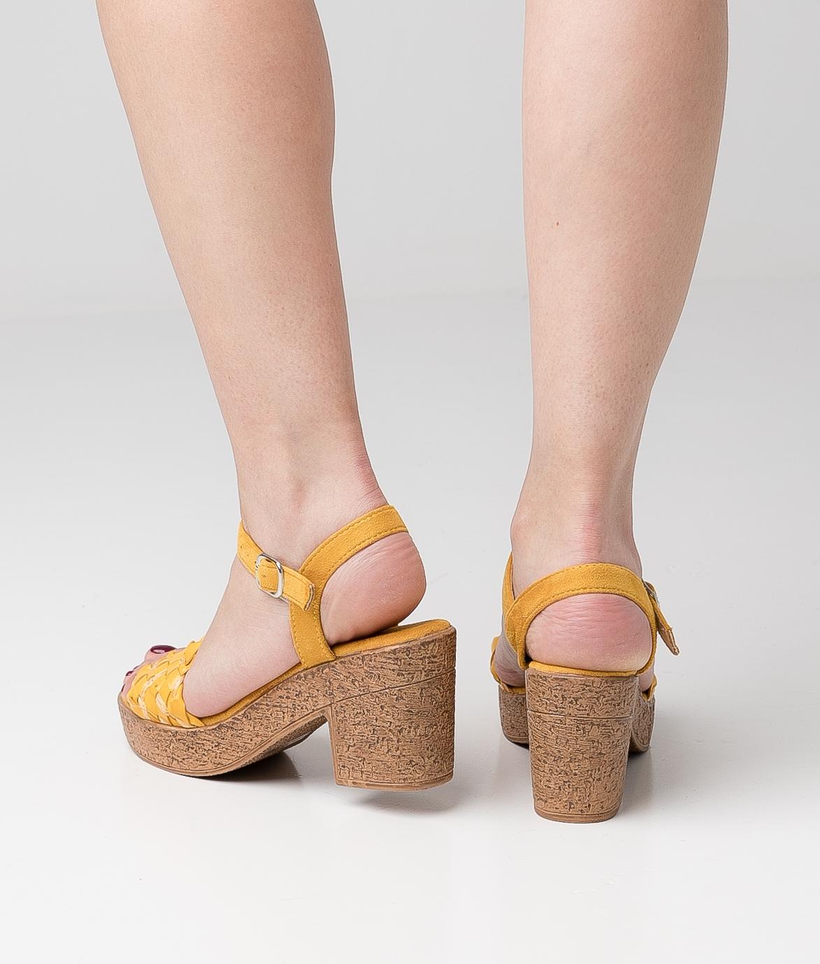Sandália de Salto Meran - Amarelo