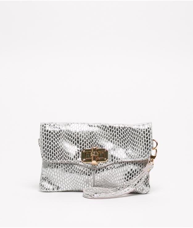 Bolsa de couro Shine - Prata