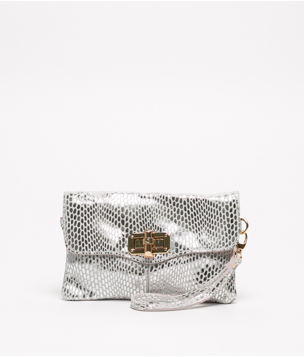 Leather bag Shine - Silver
