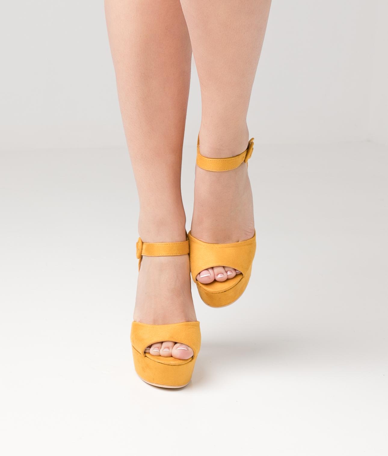 Sandália de Salto Malfir - Amarelo