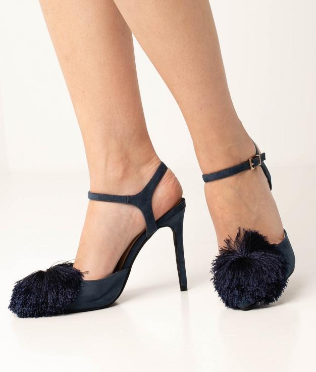 Sapato de Salto Cerdeña - Azul Marinho