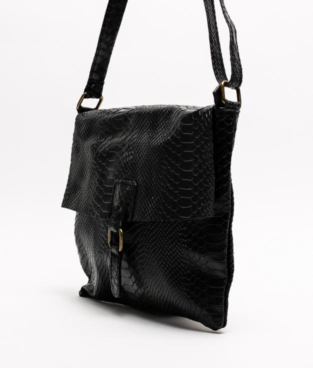 INIA LEATHER CROSSBODY BAG - BLACK
