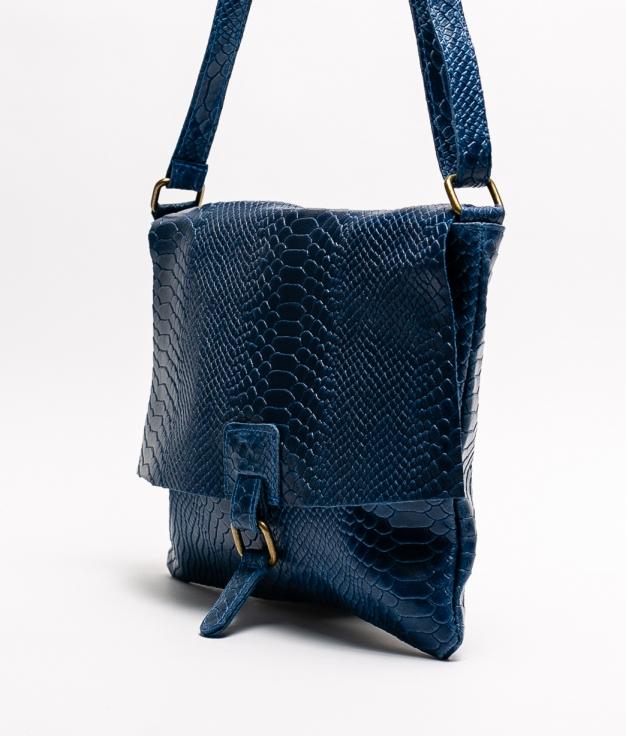 INIA LEATHER CROSSBODY BAG - DARK BLUE