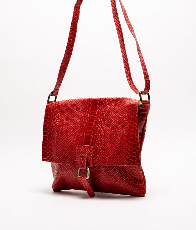 INIA LEATHER CROSSBODY BAG - RED
