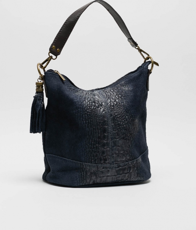 bolsa de ombro de couro Pace - azul marinho