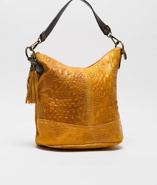 sac porte epaule en cuir Pace - moutarde