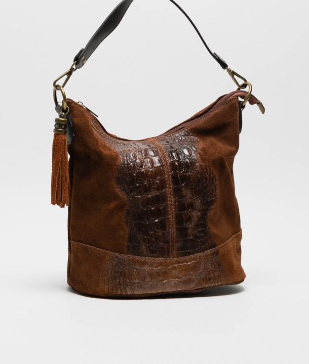 sac porte epaule en cuir Pace - chocolate