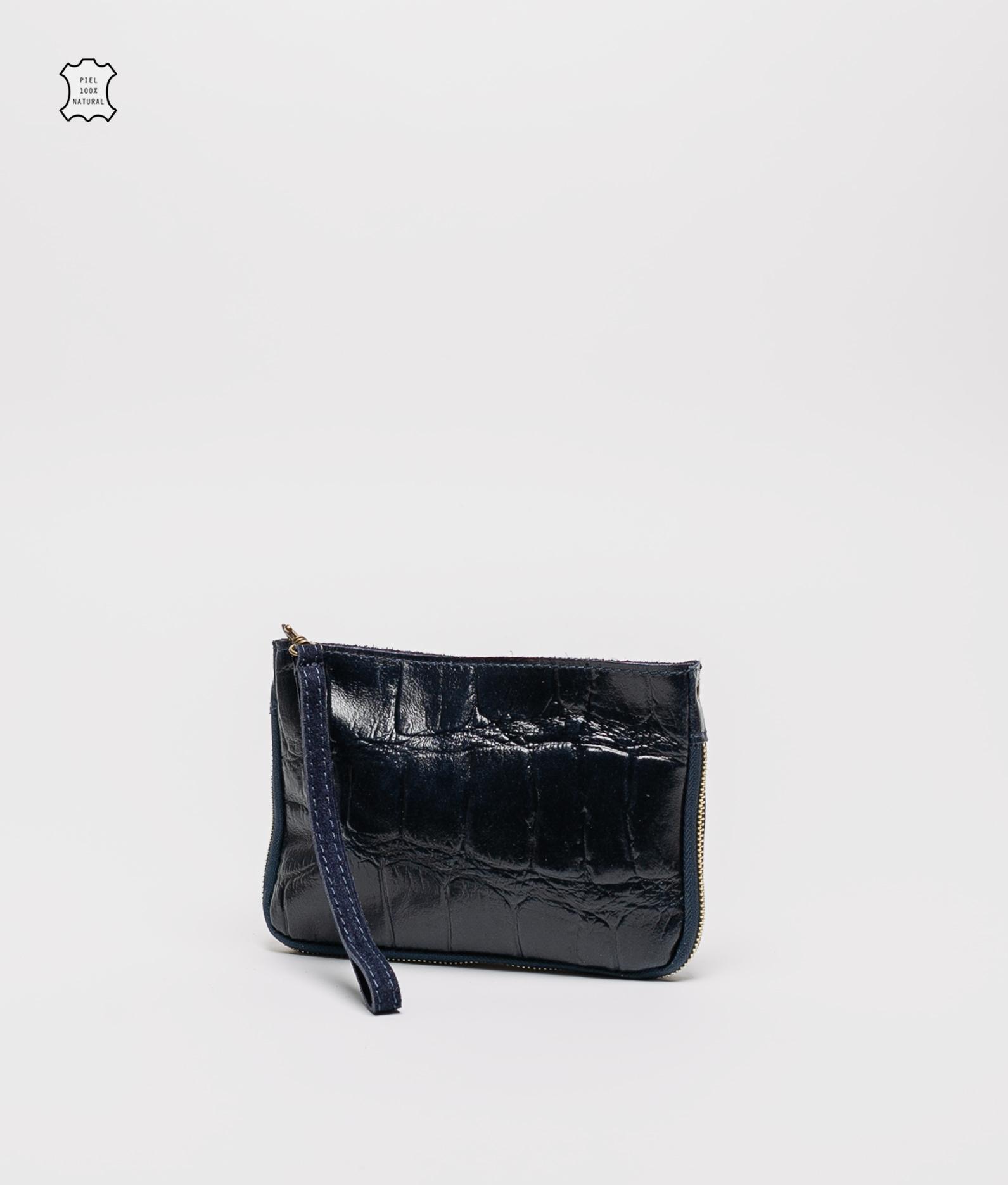 Finland leather crossbody bag - navy blue