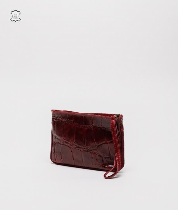 Finland leather crossbody bag - granet