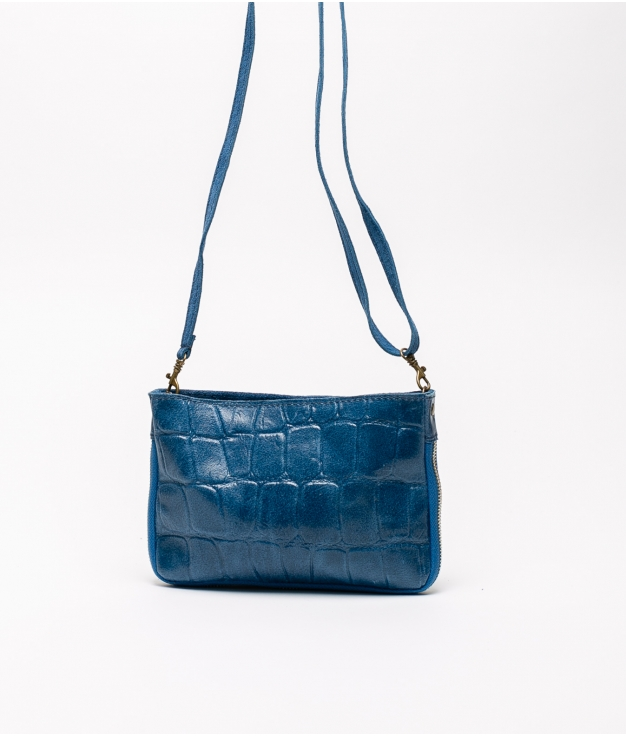 Finland leather crossbody bag - blue