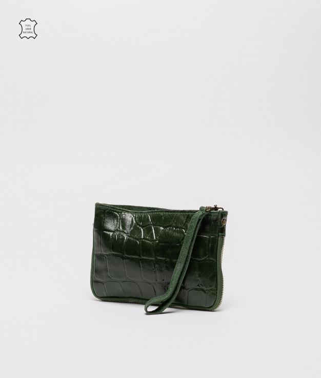 Bandolera de piel Finlandia - verde oscuro