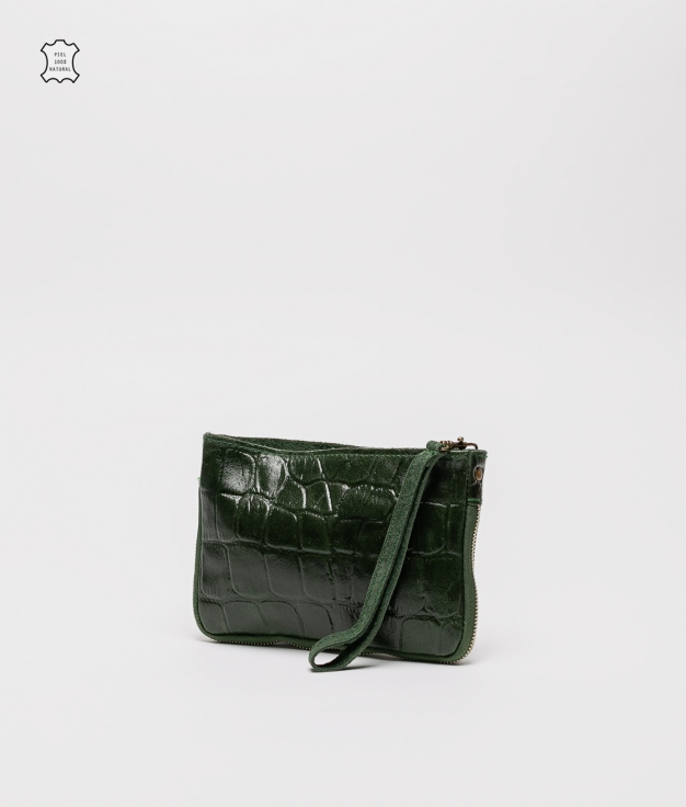 Finland leather crossbody bag - green oscuro