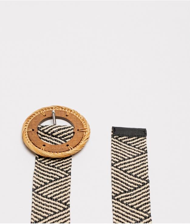 cinturon mariela - beige y negro