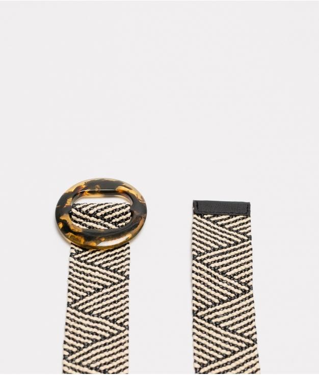 cinturon leopa - beige y negro