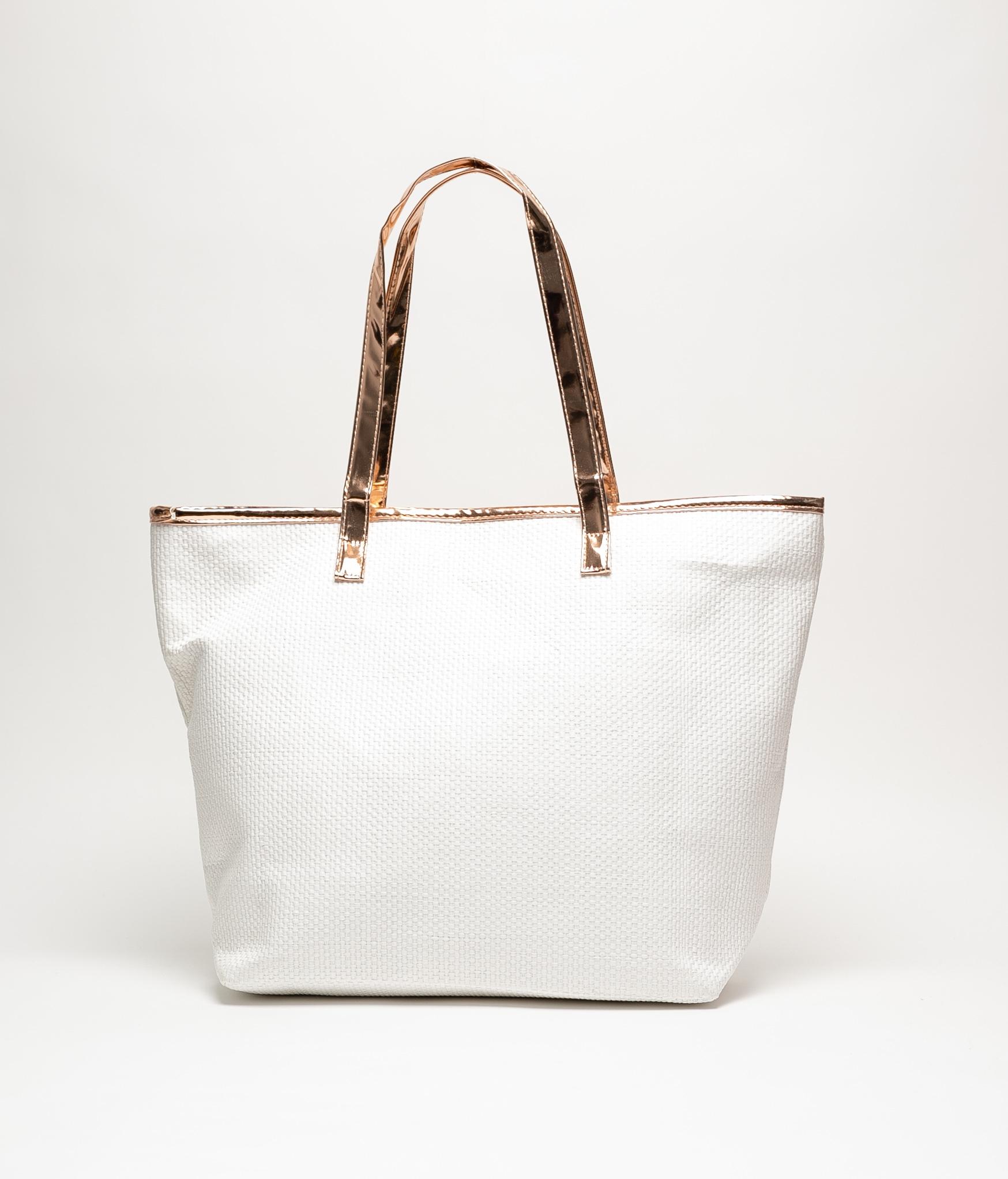 HELLO BEACH BAG - WHITE CHAMPAGNE