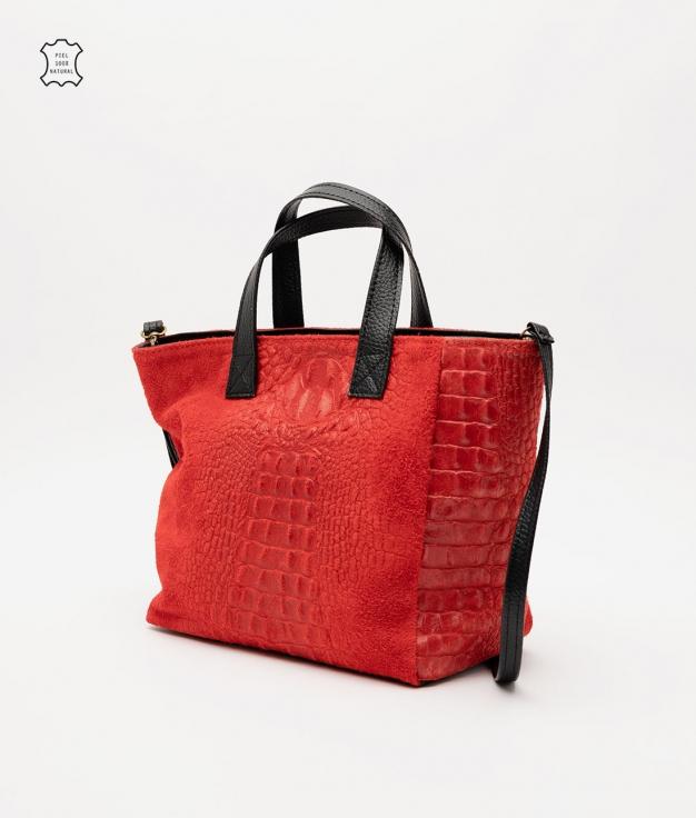 Bolso de piel Tesur - rojo fuego
