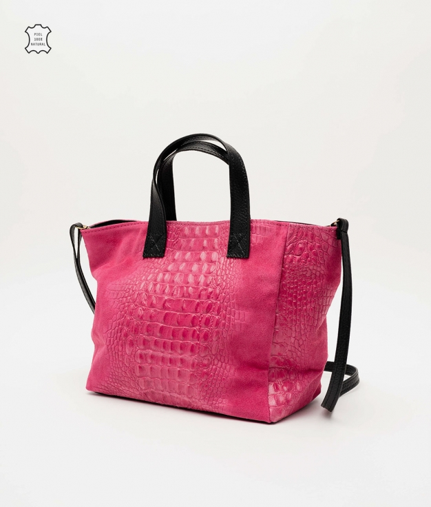 Leather bag Tesur - fuchsia