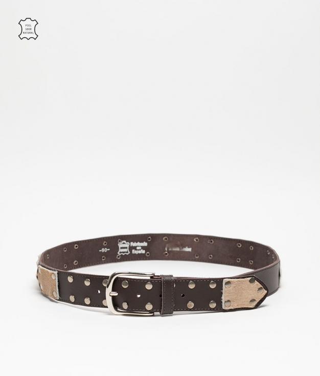 Cinturón de piel Mia - marron