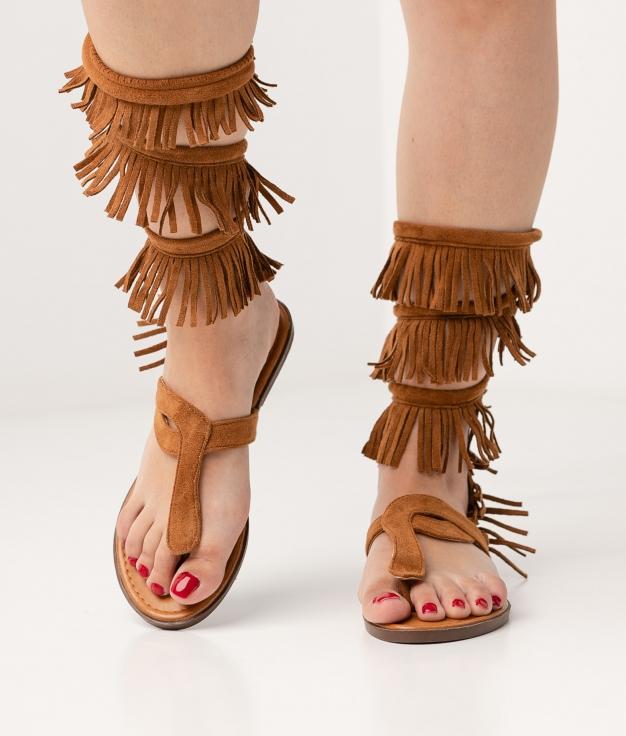sandália plana Flecsi - Camel
