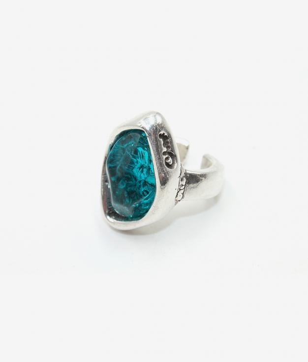 Anel Zulu prata-azul