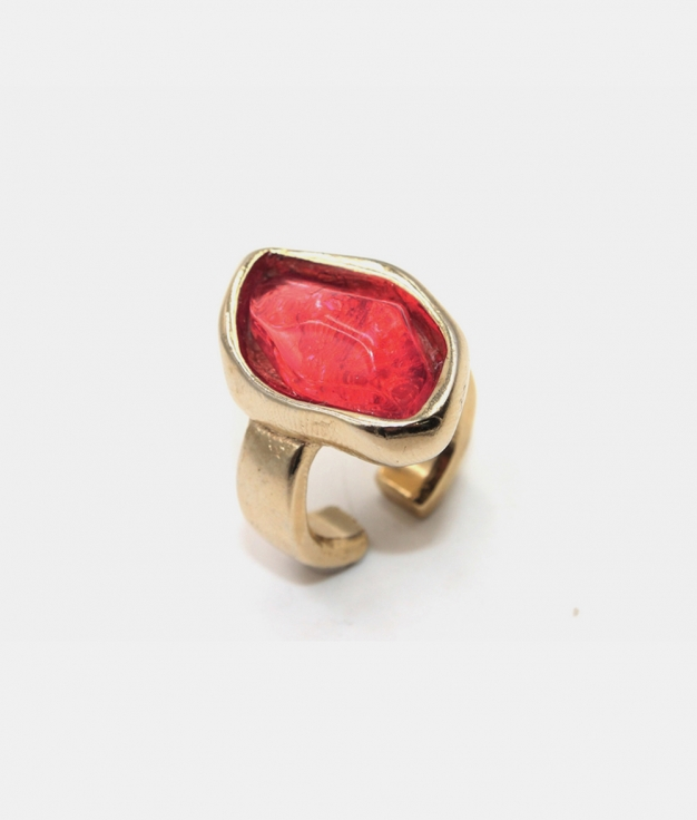 ZULU gold and fuchsia ring