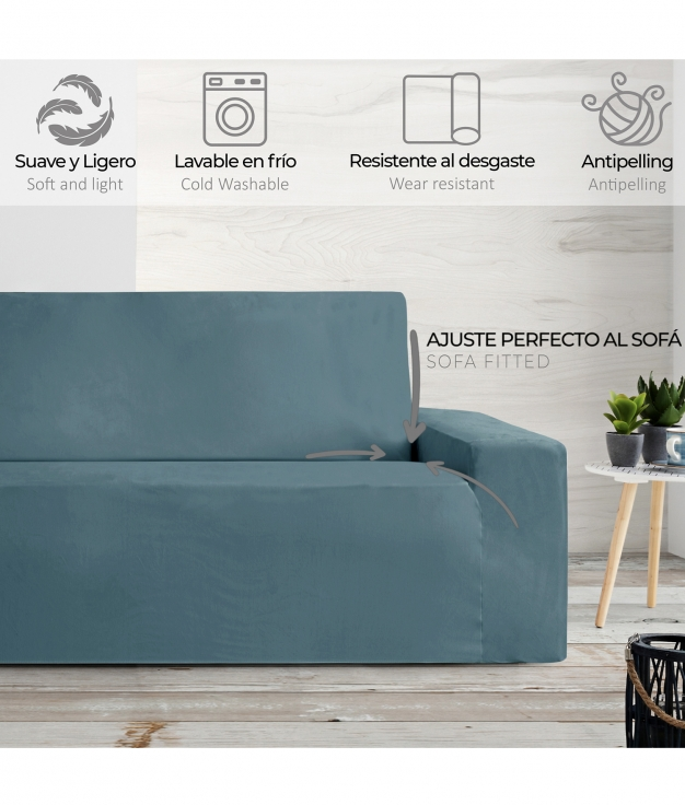 Funda Sofá Terciopelo 3 Plazas - Azul