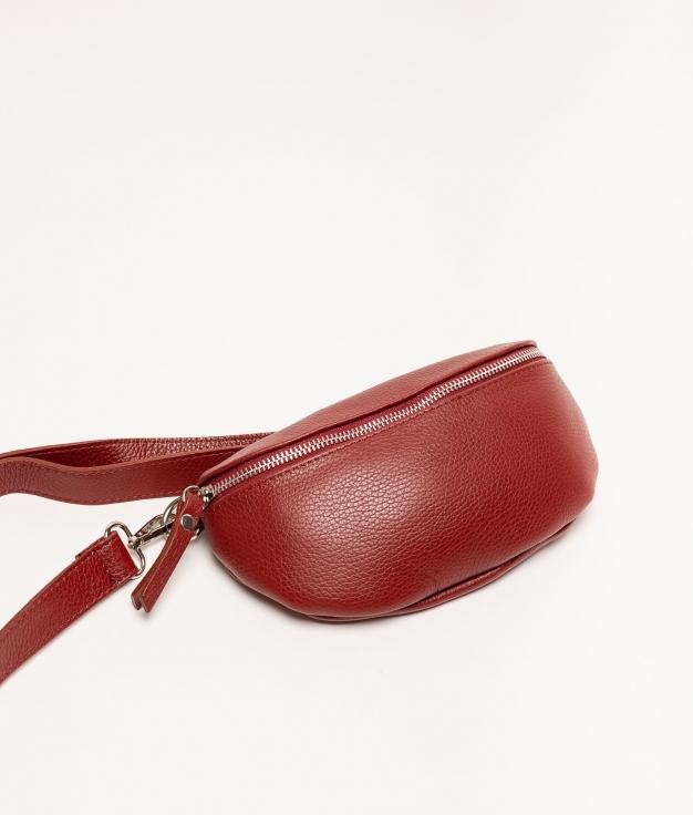 Rinonera de piel Erica - rojo oscuro