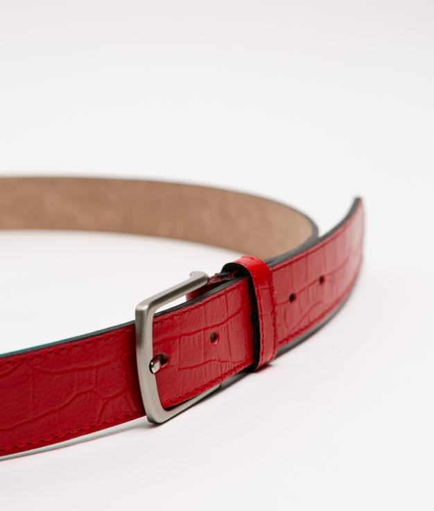 Cinturón de piel Annie - rojo