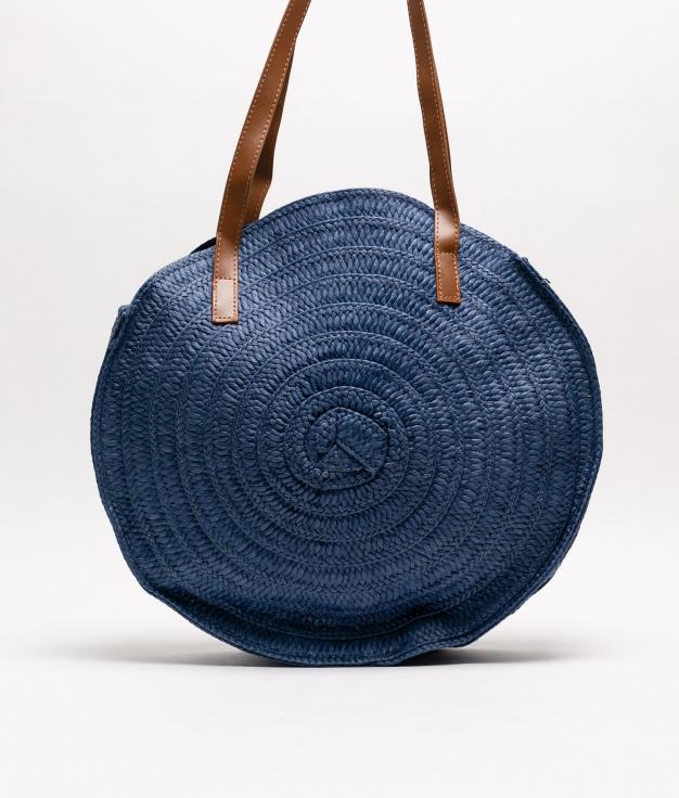 bolso de rafia fiona - azul marino
