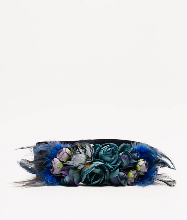 MYA BELT - NAVY BLUE ( FEATHERS)