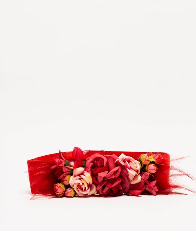 MYA BELT - RED (FEATHERS)