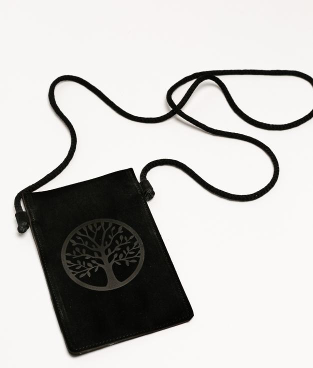 Mobile Holder Leather Ventis - Black