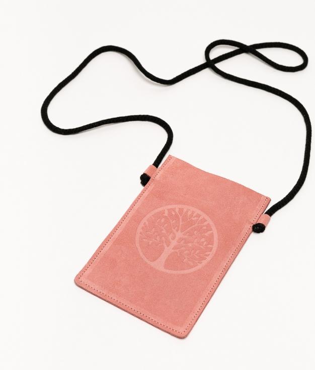 Mobile Holder Leather Ventis - Pink