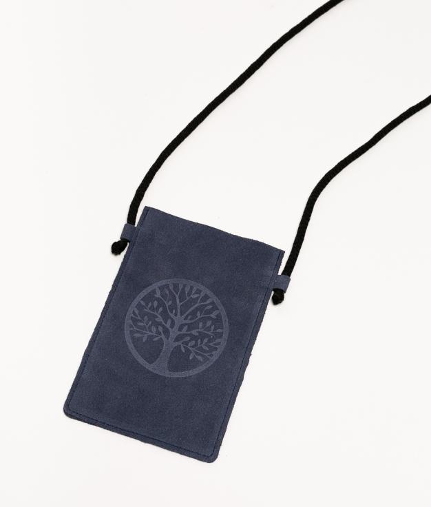 Mobile Holder Leather Ventis - Navy Blue