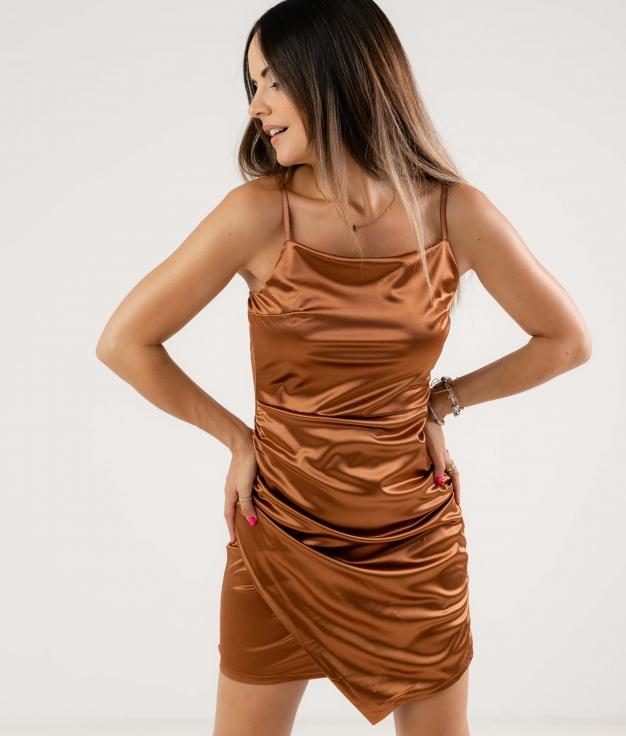 SATINE DRESS - BROWN