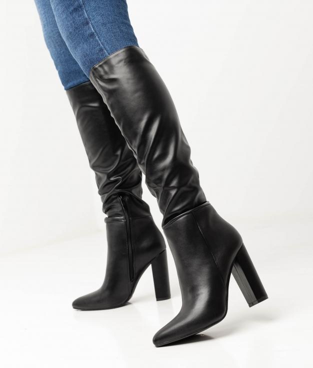 LEYA KNEE-LENGHT BOOT - BLACK