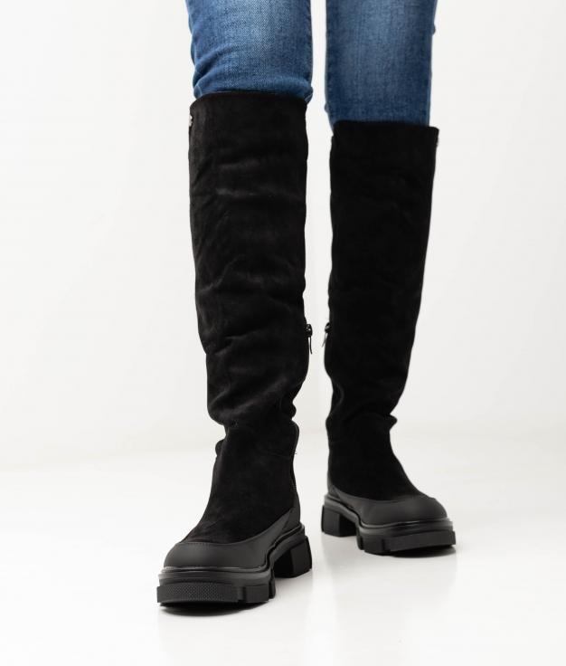 YANILA KNEE-LENGHT BOOT - BLACK