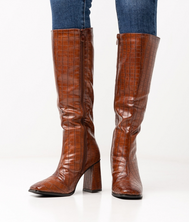 GALORE KNEE-LENGHT BOOT - CAMEL