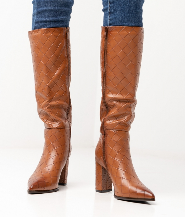 VEMAZ KNEE-LENGHT BOOT - CAMEL