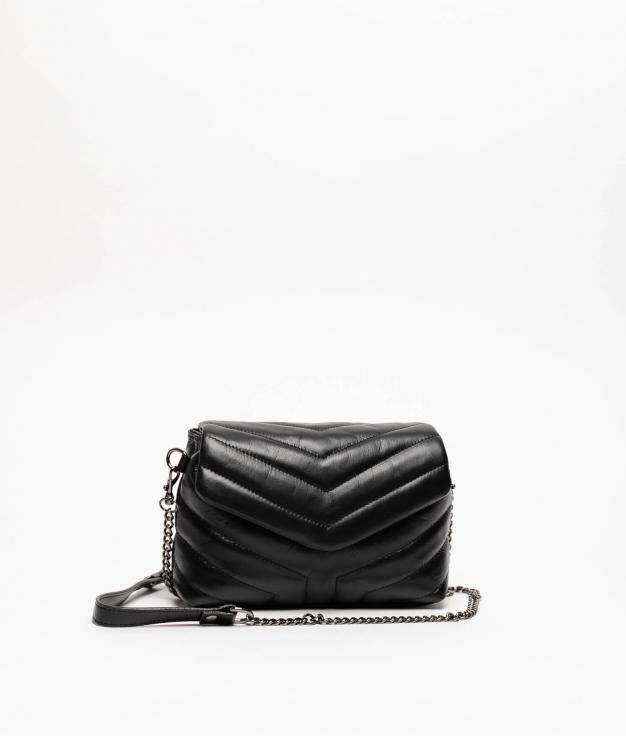 TANIA LEATHER BAG - BLACK