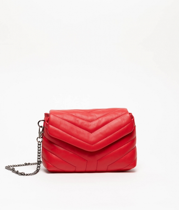 TANIA LEATHER BAG - RED
