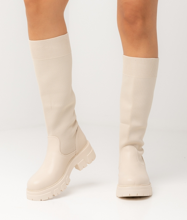 FIRAL KNEE-LENGHT BOOT - BEIGE