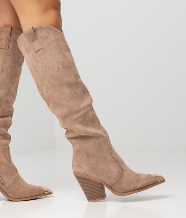 Knee-Length Boot Pruk - Khaki Antelina